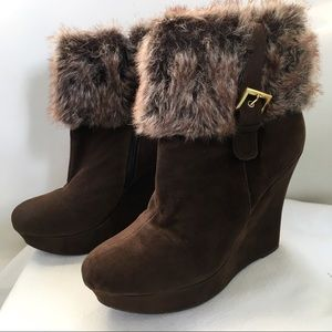 Bamboo Brown Wedge Ankle Boots w Faux Fur Tops